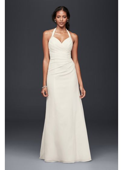 Crepe sheath halter wedding dress davids bridal long sheath beach wedding dress junglespirit Image collections