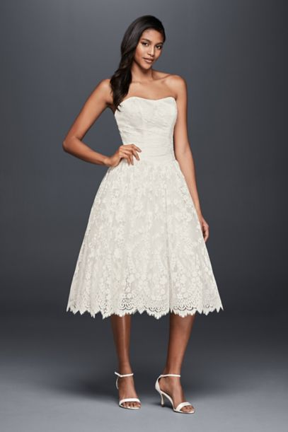 Short Lace Strapless Wedding Dress With Ruching David S Bridal