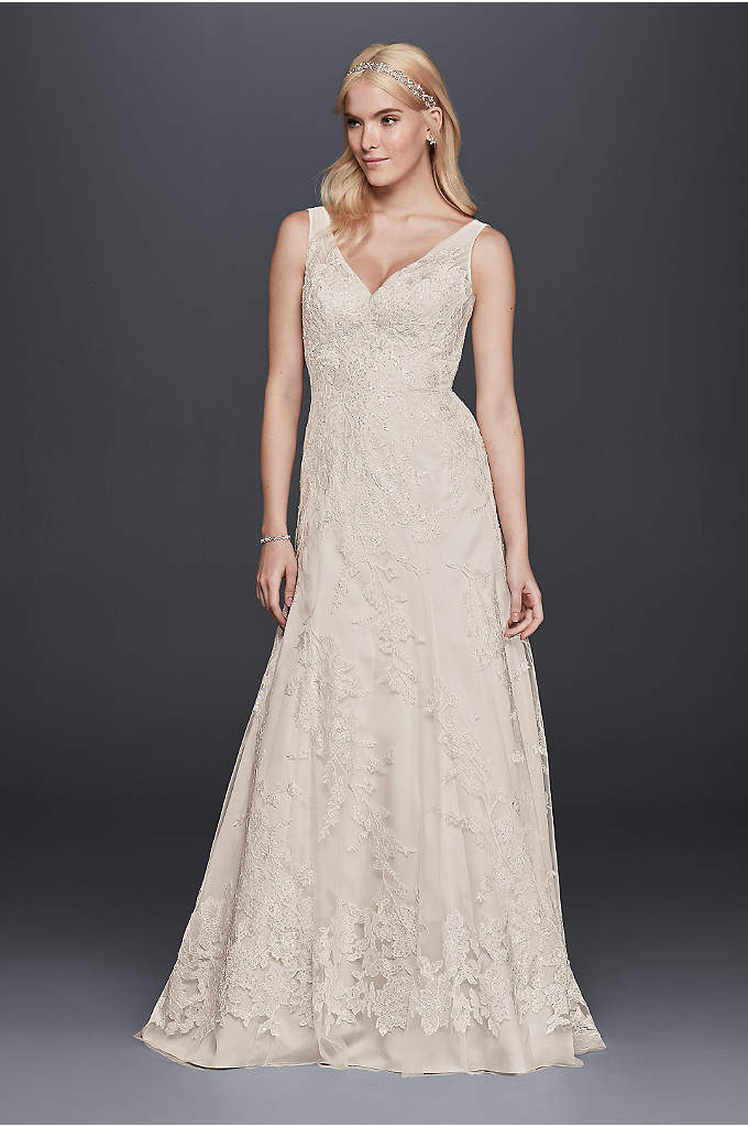 Sleeveless Tulle and Lace A-Line Wedding Dress - The illusion tank straps and beaded lace appliques