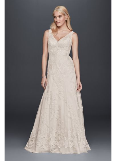 Sleeveless Tulle and Lace A-Line Wedding Dress | David\'s Bridal