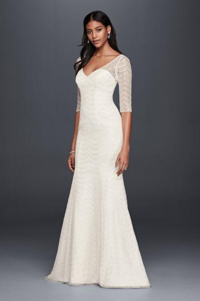 Scalloped Lace 3 4 Sleeve Mermaid Wedding Dress David S