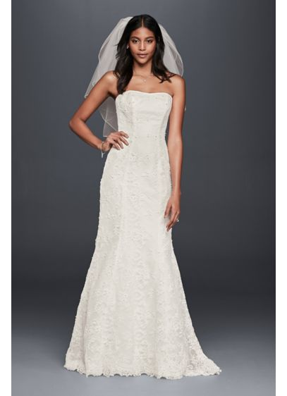 Strapless Beaded Lace Mermaid Wedding Dress David S Bridal