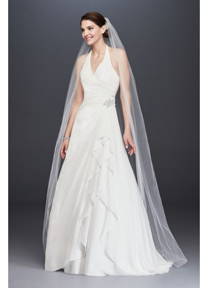 Pleated Chiffon Halter Wedding Dress With Ruffle David S Bridal