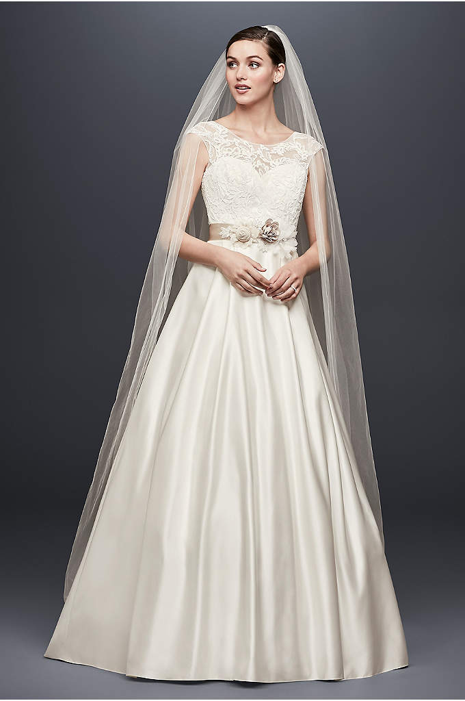 Appliqued Cap Sleeve A-Line Wedding Dress - Corded lace vines add beautiful texture to the