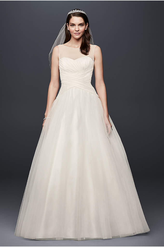 Illusion Neckline Organza Ball Gown Wedding Dress - Crafted with a crisscross sweetheart bodice and topped