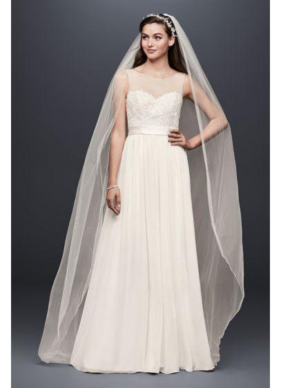 Lace and Crinkle Chiffon Sheath Wedding Dress - Soft and simple, this flowing sheath wedding dress