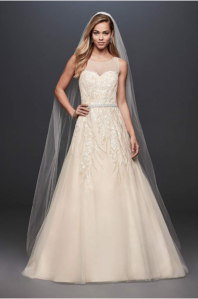 Sequin Vines Tulle Ball Gown Wedding Dress Petals On Embroidered Branches Give This Illusion