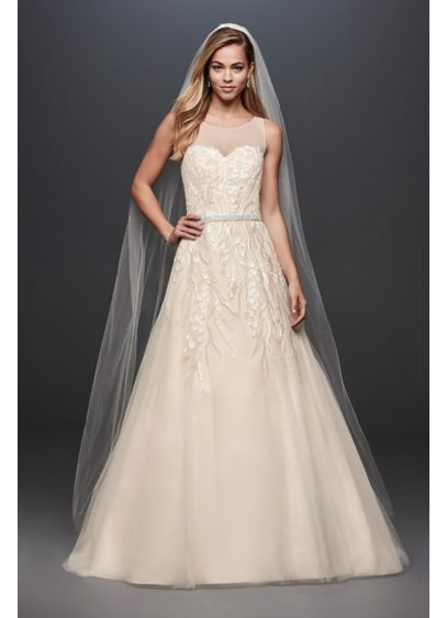 Sequin Vines Tulle Ball Gown Wedding Dress - Sequin petals on embroidered branches give this illusion-bodice,