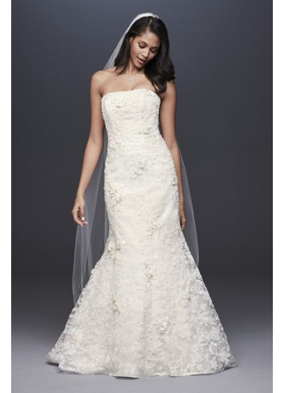 Strapless Lace Mermaid Dress with 3D Flowers - Classic with a romantic twist, this lace wedding