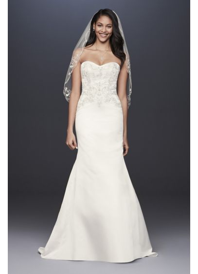 Satin Strapless A-Line Beaded Lace Wedding Dress - Metallic lace appliques and tonal beading add subtle