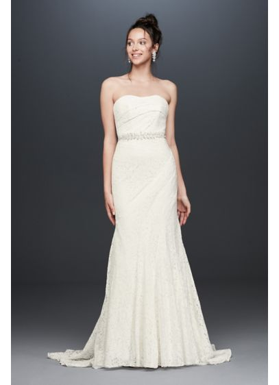Strapless Floral Crochet Lace Seamed Wedding Dress - Simple and stunning, this strapless wedding dress stands
