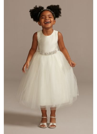 Flower girl dress with tulle and ribbon waist davids bridal short ballgown tank communion dress davids bridal mightylinksfo
