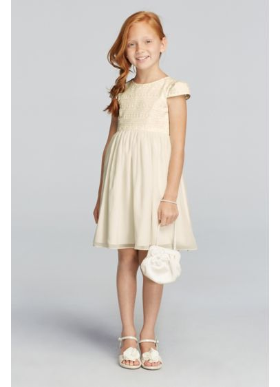 Short A-Line Short Sleeves Communion Dress - David's Bridal