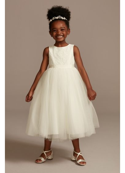 eaba3185072 Lace and Mesh Tank Flower Girl Dress. OP222. Short Ballgown Tank Communion  Dress - David s Bridal
