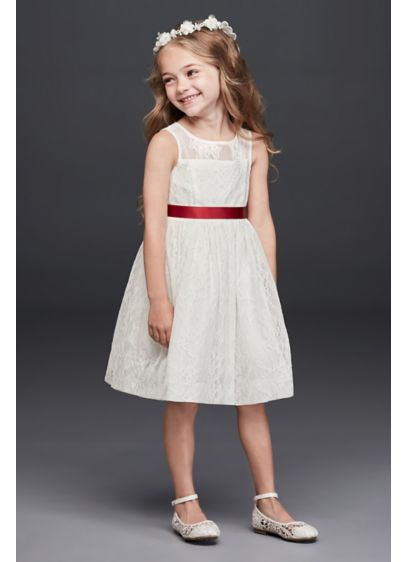 Sleeveless knee length flower girl dress davids bridal short a line tank communion dress davids bridal mightylinksfo