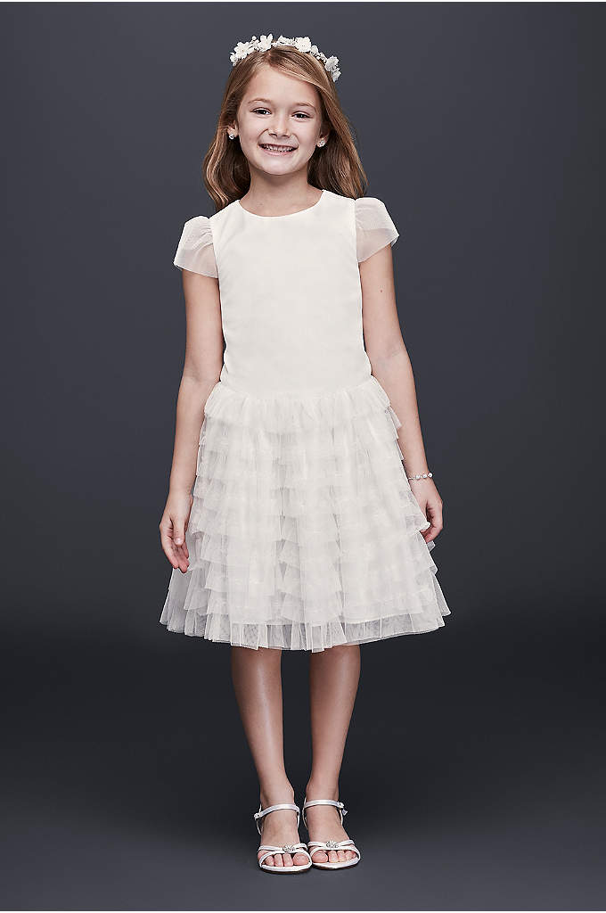 Tulle Flower Girl Dress with Tiered Ruffle Skirt