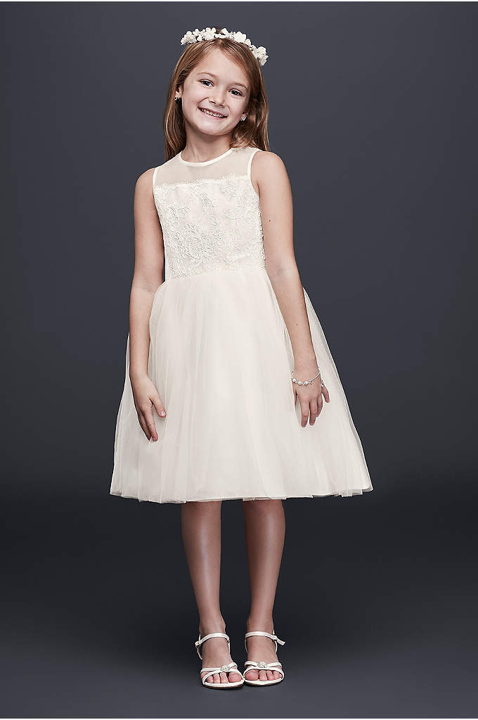 Corded Lace Flower Girl Dress with Tulle Skirt