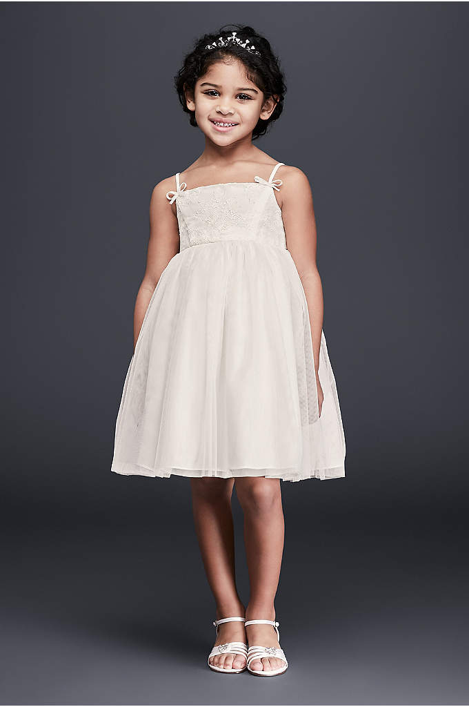 Lace and Tulle Flower Girl Dress with Bows