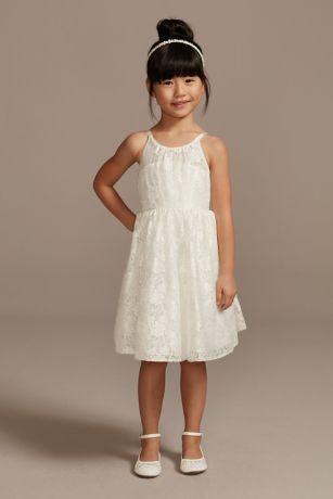 22456b26e64b Illusion Lace Tie-Back Halter Flower Girl Dress | David's Bridal
