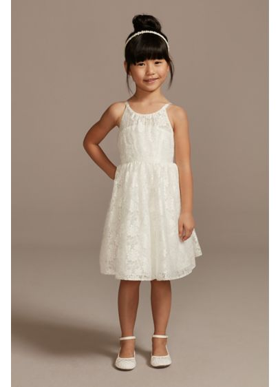 Illusion Lace Tie-Back Halter Flower Girl Dress - This cute and lacy halter flower girl dress