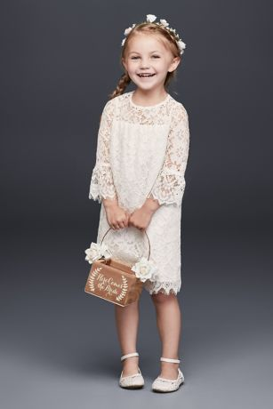 6743553e5 Short Lace Flower Girl Dress with Illusion Sleeves
