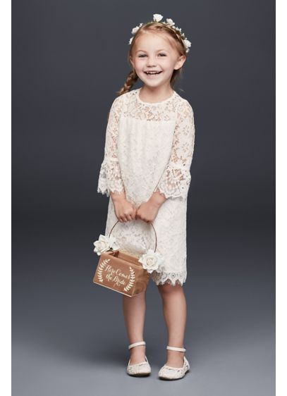 cc68587193b Short Lace Flower Girl Dress with Illusion Sleeves. David s Bridal
