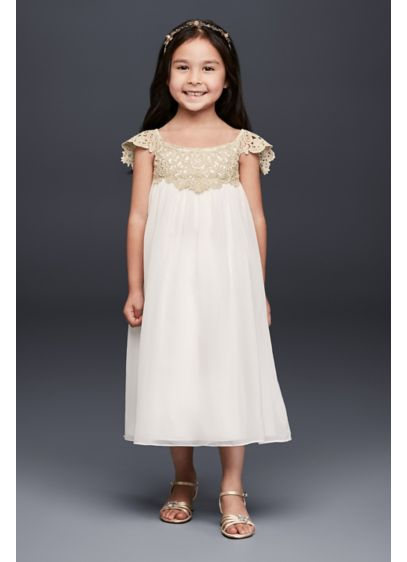 Metallic crochet and chiffon flower girl dress davids bridal long sheath cap sleeves dress davids bridal mightylinksfo