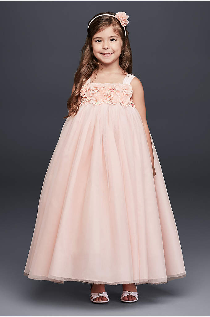 Tulle Flower Girl Dress with 3D Floral Bodice