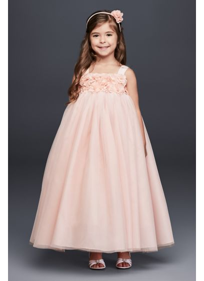94376ecdf33 Tulle Flower Girl Dress with 3D Floral Bodice