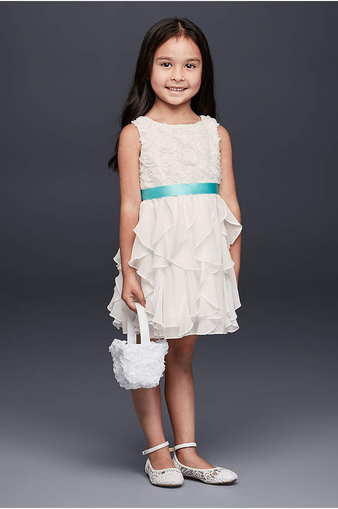 Rosette Flower Girl Dress with Ruffled Skirt - This charming flower girl dress features a bodice