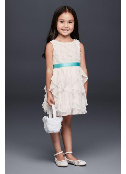 18f35faee27 Rosette Flower Girl Dress with Ruffled Skirt. David s Bridal