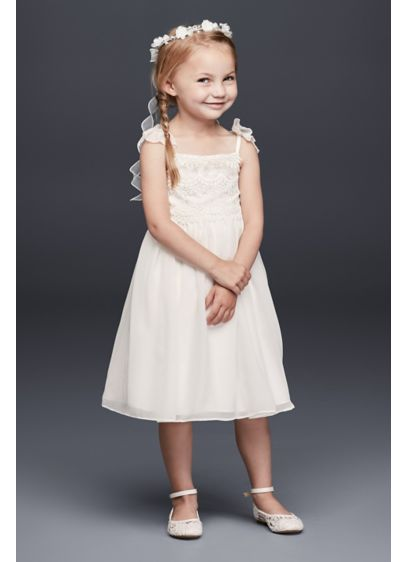 f48983753ee Chiffon Flower Girl Dress with Tiered Lace Bodice. OP243. Short Sheath  Spaghetti Strap Dress - David s Bridal