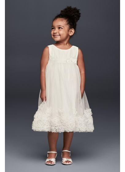 3f06b1e4f88 3D Pearl Blossom Tulle Flower Girl Dress. David s Bridal
