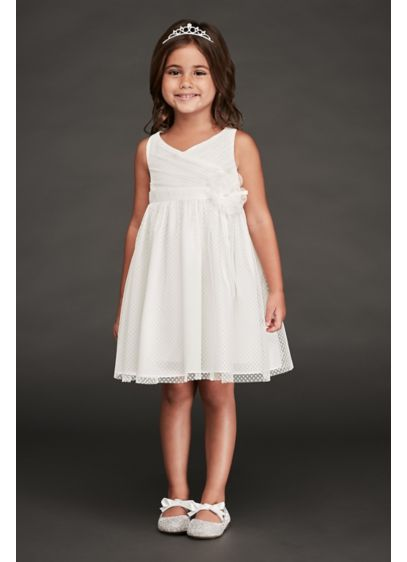 Ivory (Ruched Point d'Esprit Flower Girl Dress)
