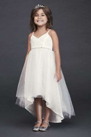761a85b7e1 High-Low Tulle Flower Girl Dress with Crystal Belt