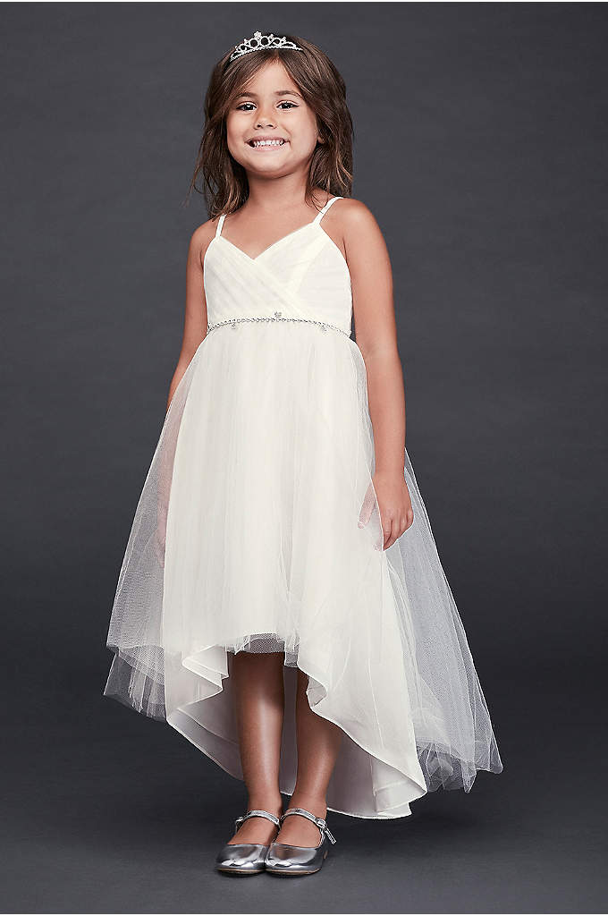 High-Low Tulle Flower Girl Dress with Crystal Belt