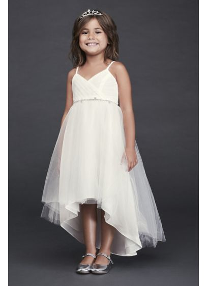 High Low Tulle Flower Girl Dress With Crystal Belt