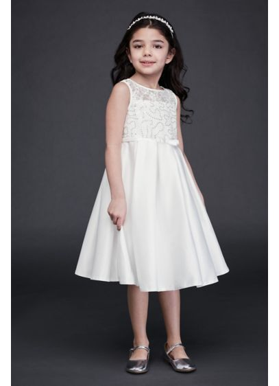 Lace and Satin Flower Girl Dress with Bow - She'll shimmer with every twirl in this luminous