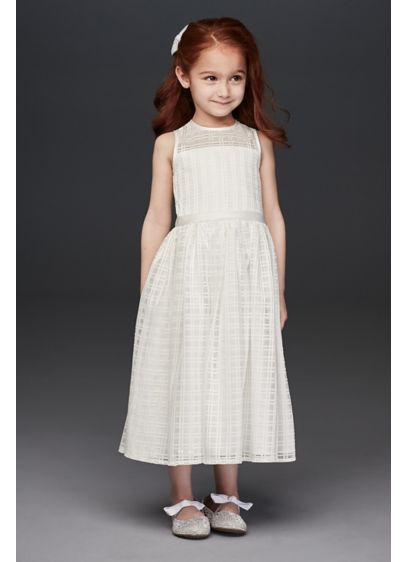 Crosshatch Checked Tea-Length Flower Girl Dress - A modern take on the traditional flower girl