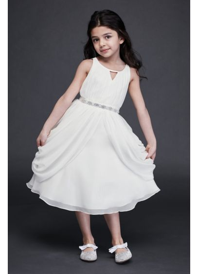 Draped Swag Skirt Chiffon Flower Girl Dress - Skinny straps and a notch detail accent the
