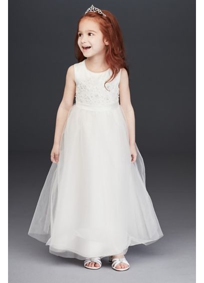 4c33fb1d2 Beaded Applique Flower Girl Dress with Tulle Skirt | David's Bridal