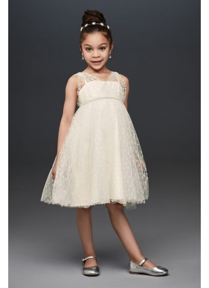 Silver Dots Flower Girl Dress With Crystal Belt David S Bridal
