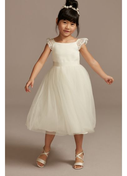 Crochet Cap Sleeve Ruffle Flower Girl Dress - She'll fit right into the boho bride's wedding