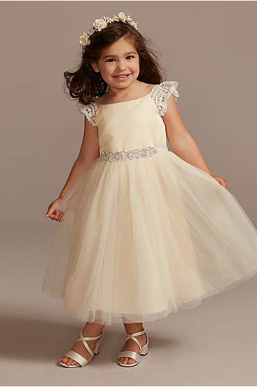 Crochet Cap Sleeve Ruffle Flower Girl Dress