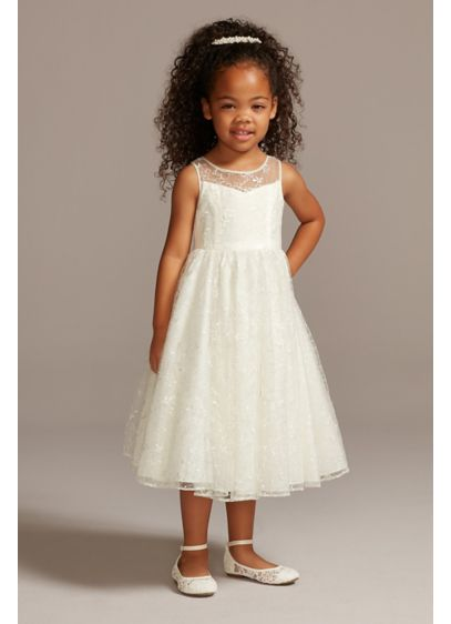 Allover Sequin Floral Lace Tank Flower Girl Dress - This charming flower girl dress is embroidered with