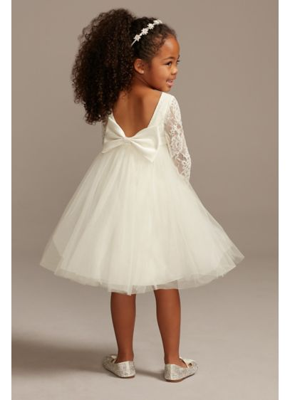 Illusion Lace Sleeve Flower Girl Dress with Bow - A darling and charming option for her walk