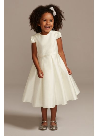 Satin Cap Sleeve Flower Girl Dress with Bow - Cap sleeves and a ball gown skirt form