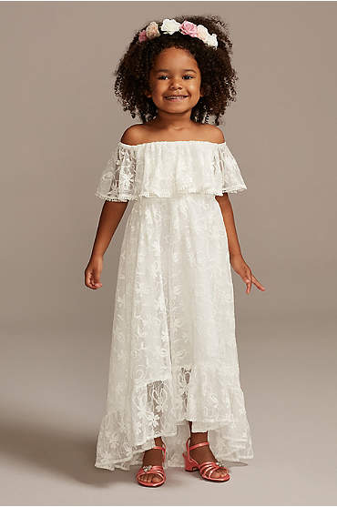Off-the-Shoulder Lace Flower Girl Dress