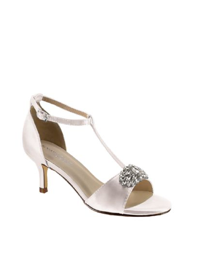 Benjamin Walk White (Satin T-Strap Sandals with Crystal Embellishment)