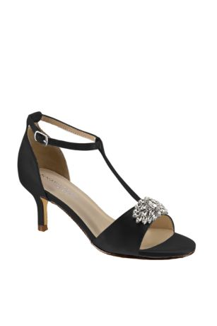 Benjamin Walk Black;Blue;Brown;Green;Grey;Ivory;Orange;Pink;Purple;Red;White;Yellow Heeled Sandals (Satin T-Strap Sandals with Crystal Embellishment)